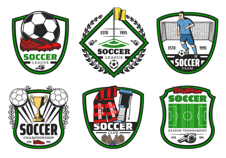 Soccer sport league championship label for football game design. Soccer ball, golden winner cup and football game player, stadium play field, goal gate and boots on heraldic shield with laurel wreath