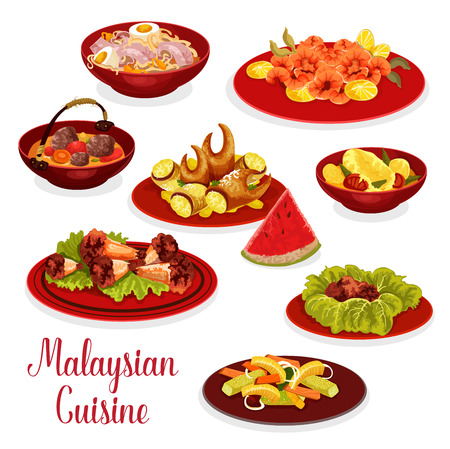 Malaysian cuisine icon with asian dinner dishes. Chicken noodle soup soto ayam, pickled vegetable salad, chili shrimp and chicken wings, crab claw, chicken stew, beef rib soup and coconut dessert Ilustração