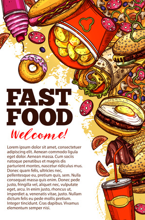 Fast food restaurant welcome banner with takeaway burger, drink and dessert. Hamburger, pizza and fries, hot dog, cheeseburger and soda cup, donut and ice cream sketch border for fastfood cafe design