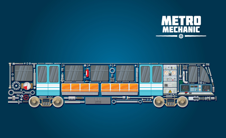 Subway train icon of metro mechanic concept with railcar parts. Underground railway transport poster with parts of engine, wheel and axle, door, gear and window for rapid transit transportation design Ilustração