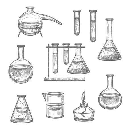 Laboratory glassware and equipment sketch set. Chemical laboratory glass flask, test tube and beaker, retort and spirit lamp isolated icon for chemical research and science experiment themes design Illustration