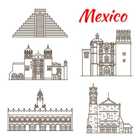 Travel landmark of Mexico and ancient Mesoamerica icon. Sacromonte Church, Aztec Pyramid of Chichen Itza and Saint Augustin Church, Monastery of Santo Domingo and Merida City Hall for tourism design