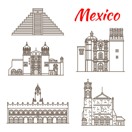Travel landmark of Mexico and ancient Mesoamerica icon. Sacromonte Church, Aztec Pyramid of Chichen Itza and Saint Augustin Church, Monastery of Santo Domingo and Merida City Hall for tourism design
