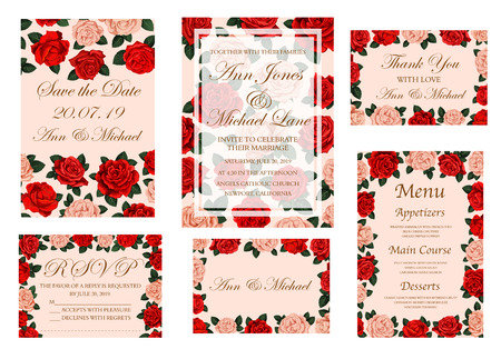 Wedding banner with rose flower for invitation and save the date card, menu and thank you poster template. Floral frame of red and pink rose blossom, green leaf and branch for wedding ceremony design Иллюстрация