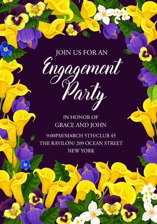 Engagement party invitation card, decorated by blooming flower. Wedding ceremony or bridal shower banner design with calla lily, crocus, jasmine and pansy floral frame border