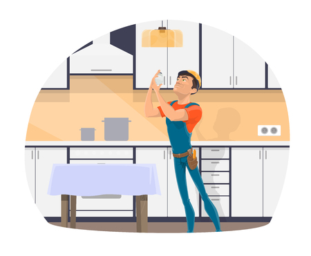 Electrician profession cartoon icon of electrical worker with tool, blue uniform and hard hat. Repairman changing light bulb in kitchen lamp for electrician occupation themes design Illustration