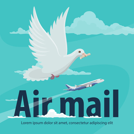 Air mail service banner for global delivery and air post concept. Cargo plane and carrier pigeon delivering mail in blue sky poster for transportation, shipping and freight aircraft themes design