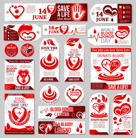 Blood Donor Day tag and label set. Medical banner of blood donation with red drop, heart, pulse and helping hand symbol for blood transfusion medical center promotion design Illusztráció