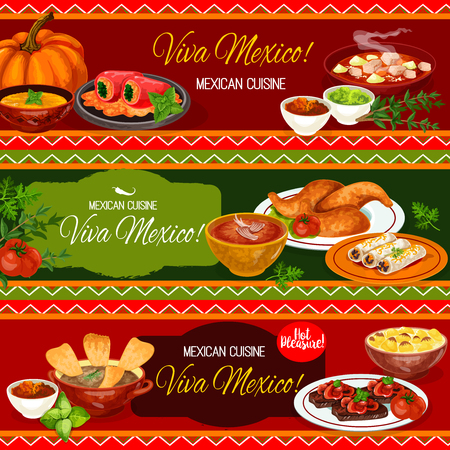 Mexican cuisine restaurant banner design. Meat bean burrito, tomato salsa and guacamole sauce, beef steak, stuffed pepper, chicken soup with tortilla, meat stew estofado, tomato and pumpkin soup