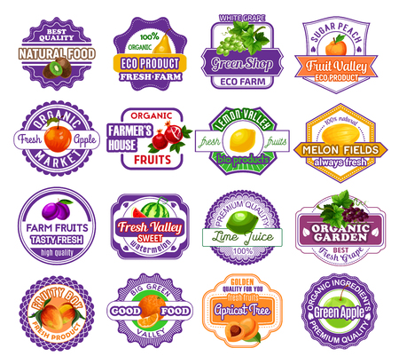 Fruit and berry label for food and drink design vector illustration.
