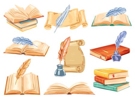 Libro vintage con set de acuarela pluma pluma. Abra el libro viejo, el rollo de papel antiguo y el pergamino, la pluma y la tinta dibujadas a mano ilustración para la literatura antigua, la educación y el diseño de temas de biblioteca