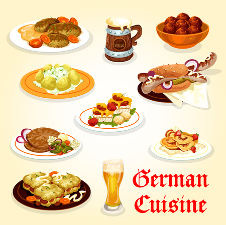 German cuisine icon for Oktoberfest menu design vector illustration.