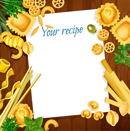 Italian cuisine recipe on wooden table with pasta, herb and spice. Blank menu with spaghetti pasta shape, penne and fusilli, ravioli, conchiglie and tagliatelle, orzo, rotelle, green basil and thyme