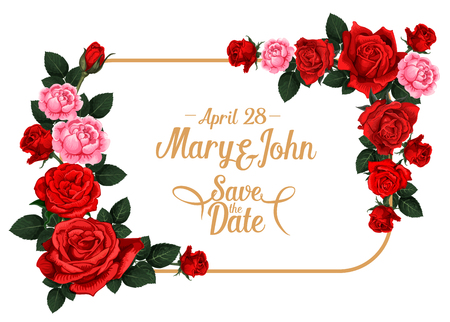 Save the Date wedding invitation card template with rose flower frame. Blooming rose flower and floral bud border with red or pink blossom, green leaf and copy space for wedding ceremony invite design