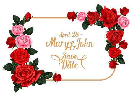 Bewaar de datum bruiloft uitnodiging kaartsjabloon met roze bloem frame. Bloeiende roze bloem en bloemenknopgrens met rode of roze bloesem, groen blad en exemplaarruimte voor huwelijksceremonie uitnodigen ontwerp Stockfoto - 100549128