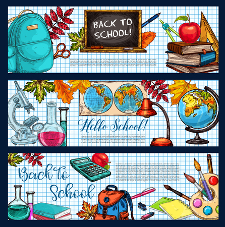 Back to School sketch banners of school bag, geography globe or biology microscope and chemistry vial, book and stationery pencil, ruler or maple leaf. Vector Hello School design on checkered notebook