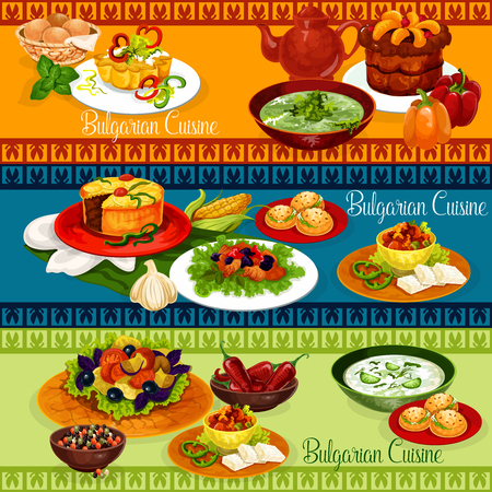 Bulgarian food banner for balkan cuisine restaurant menu design. Vegetable salad, stuffed pepper with cheese and cucumber yogurt soup, beef stew with bean, spinach cream soup, fruit pie and cupcake Standard-Bild - 100549134