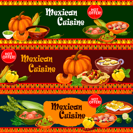 Mexican cuisine dishes with ingredient banner vector illustration.