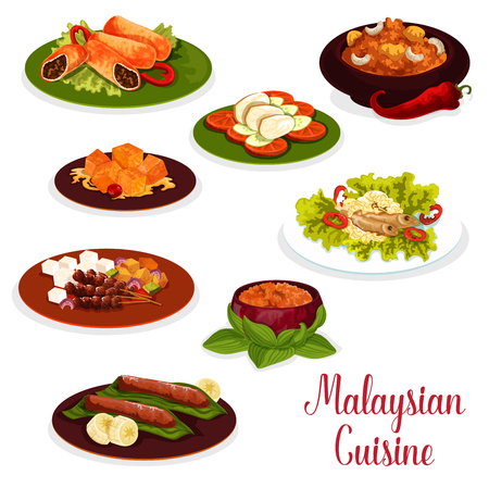 Malaysian cuisine dinner icon with asian dessert. Baked fish with rice, grilled chicken and meat pancake roll, ginger chicken with vegetable, lamb and potato beef stew, banana and pumpkin dessert Çizim