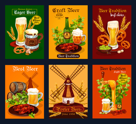 Beer drink poster for bar, pub or brewery design.  イラスト・ベクター素材