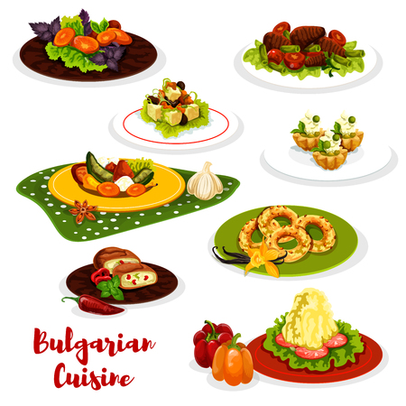 Bulgarian cuisine lunch menu icon with meat dish. Standard-Bild - 100674472