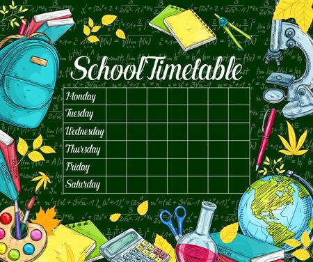School tijdschema schets banner op groen bord.