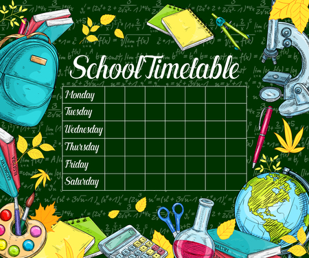 School timetable sketch banner on green chalkboard.