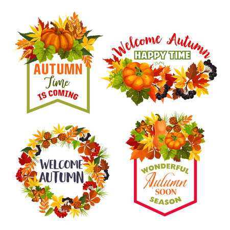 Autumn Welcome Fall vector leaf acorn icons illustration. Stock Illustratie