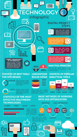 Technology info-graphic design with graph and chart.