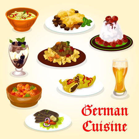 German cuisine dinner with meat dish and dessert. Cream sauce meat with pasta, stuffed pepper and pork spinach casserole, cherry cream dessert, chocolate pudding and duck breast with vegetable