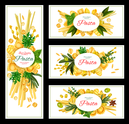 Pasta with spices banner for Italian food design.