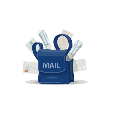 Mail bag of postman with letter envelope icon. Illustration