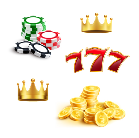 Casino 3d icon for gambling sport and gaming industry themes. Gaming chip, coin money, jackpot lucky seven and golden crown isolated symbol. Online casino, slot machine and internet bets design Illustration