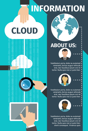 Internet cloud data technology poster or landing page. Vector flat design for web cloud networking and data sharing and internet security provider company in digital innovations and communications