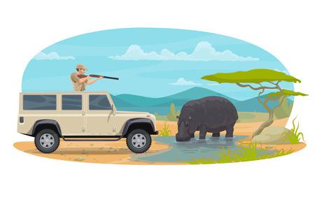Vector hunter on African safari hippopotamus hunt Illustration
