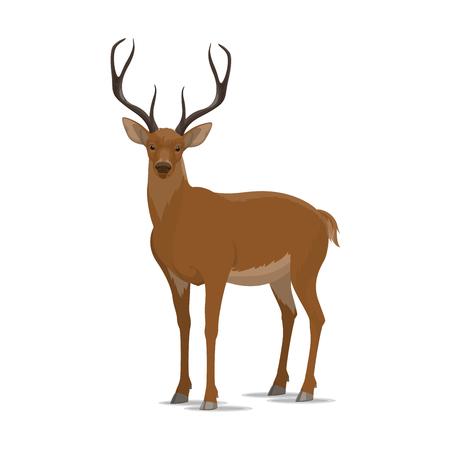 Jeleń wektor zwierzę płaskie ikona Ilustracje wektorowe