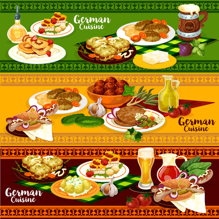 Set of German cuisine restaurant banner