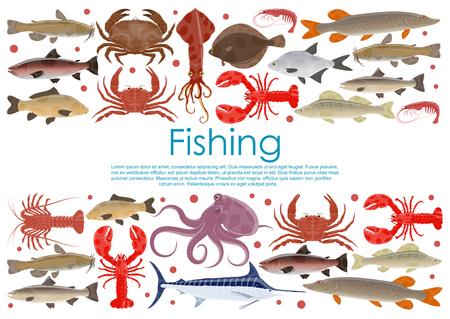 Affiche de pêche aux fruits de mer de vecteur de différentes créatures marines