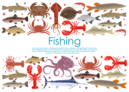 Vector seafood fishing poster of different sea creatures Ilustração
