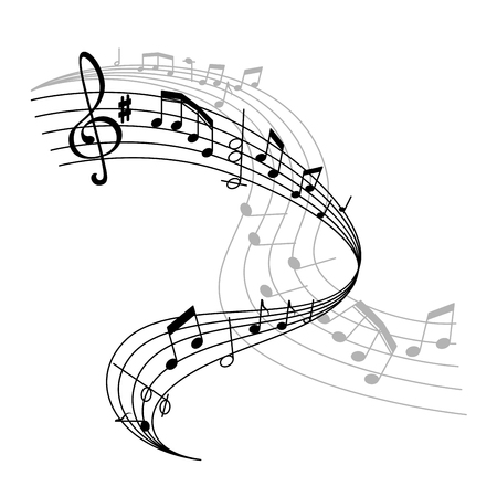 Affiche de musique de vecteur ou icône de personnel de notes