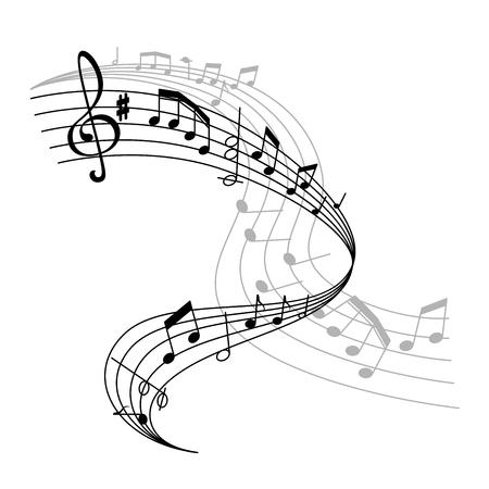 Vector muziek poster of notities personeel pictogram