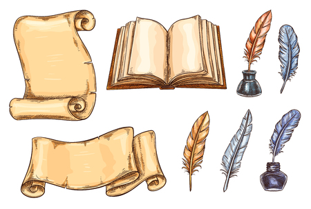 Vector sketch icons of old vintage books and quill pens