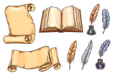 Icone di schizzo di vettore di vecchi libri vintage e penne d'oca