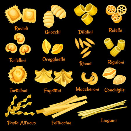 Illustrazione vettoriale di pasta italiana diversa Vettoriali