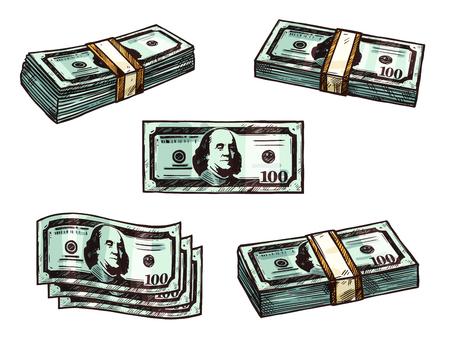 Dollar money, banknote bundles vector sketch icons