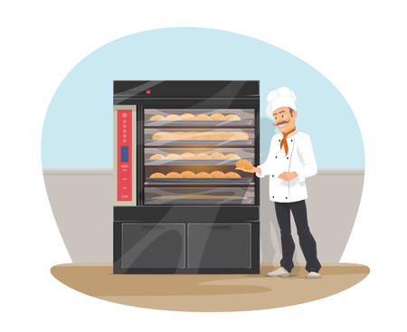 Vector bakery and baker at shop, flat design