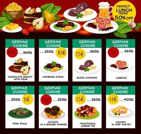 Vector menu price cards for German cuisine