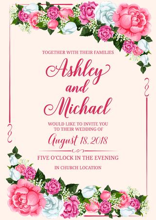 Marco de flor rosa para diseño de invitación de boda