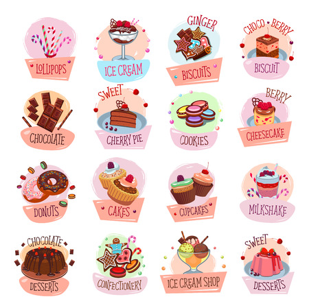 Vector pastry shop, sweets icon illustration