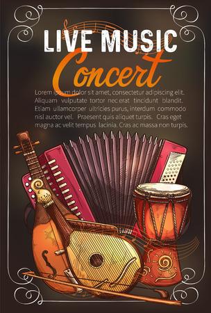 Vector music concert poster of sketch instruments